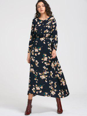 Long Sleeve Buttons Tiny Floral Maxi Dress - Cadetblue 2xl