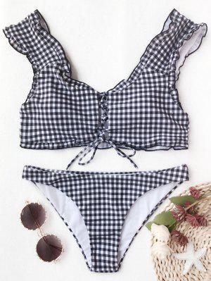 Gingham Lace Up Bralette Bikini Set - White And Black M