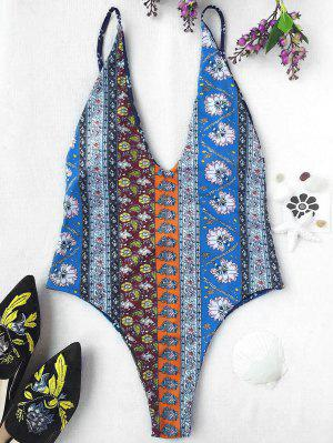 Plunging Neck Patchwork Print High Cut Swimwear - M