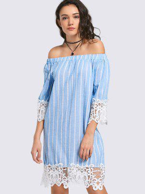 Lace Panel Striped Shift Dress - Light Blue M