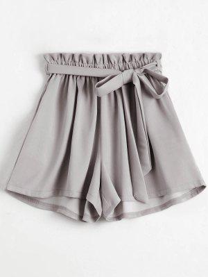 Pantalones cortos de talle alto con cinturón ahumado