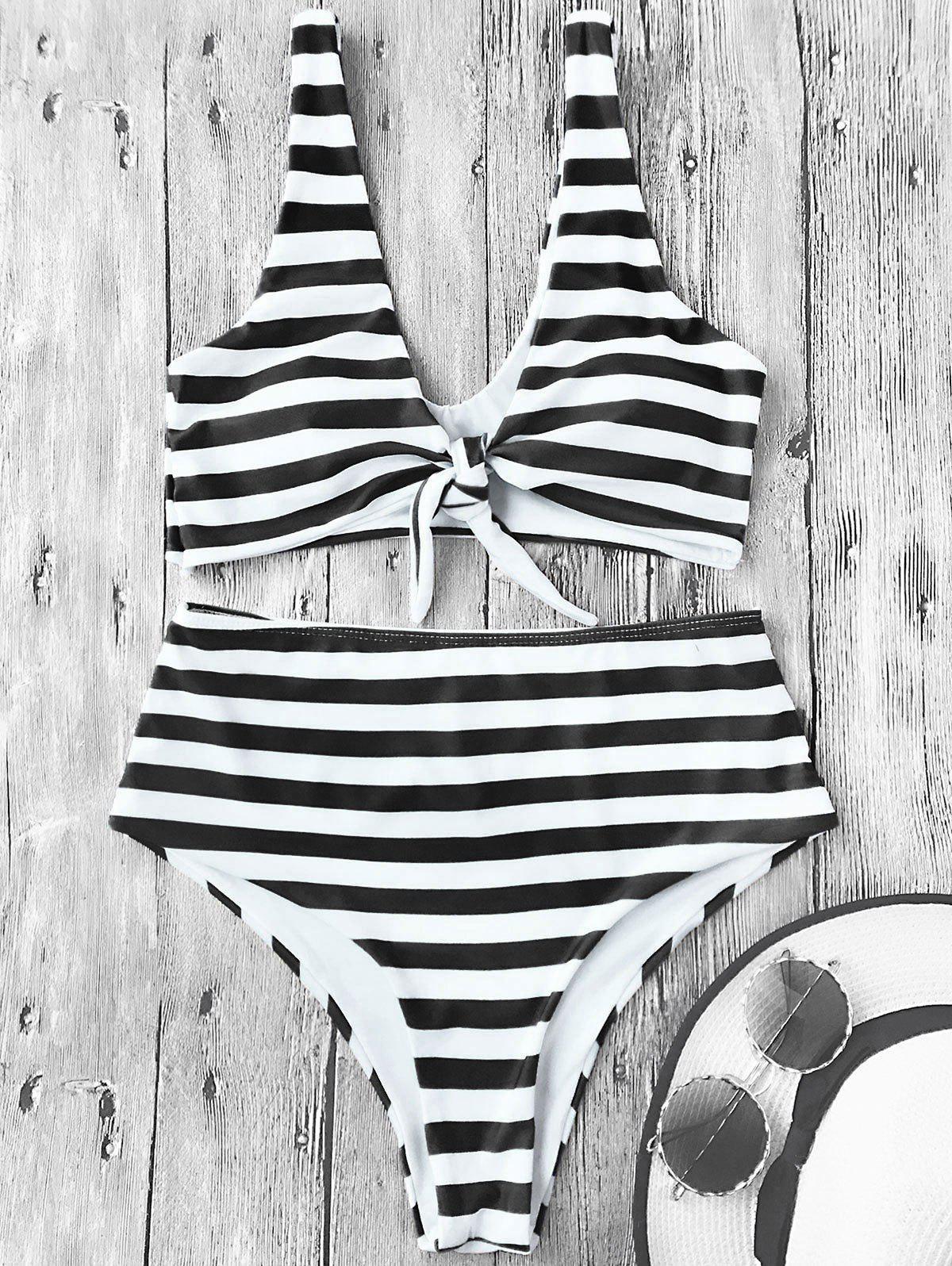 Knotted Striped High Waisted Bikini Set 217954405