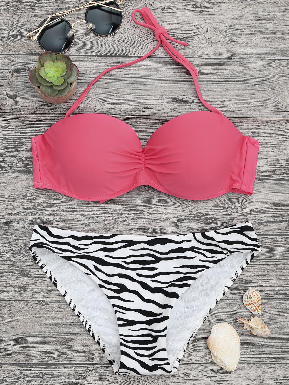 Zebra Print Underwire Push Bikini Set - PINK/ZEBRA M