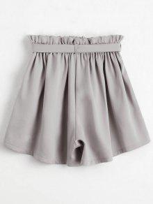 Smocked Belted High Waisted Shorts LIGHT GRAY: Shorts ONE SIZE   ZAFUL
