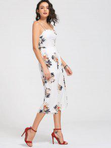 Floral Print Cami Jumpsuit - White M