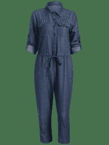 2c8158da0ef ... Drawstring Patched Pocket Denim Jumpsuit ...