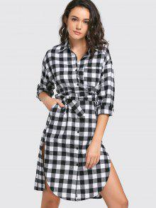 Button Up Slit Belted Checked Dress - Black