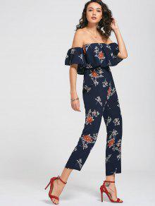 Off The Shoulder Floral Print Flounce Jumpsuit - Floral M