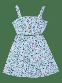 L o Botones Floral Peque Con De Corte Vestido Azul Claro qvz5wF