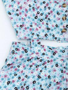 Peque Floral L o Azul Corte Con Botones Claro De Vestido HFqwRdYH