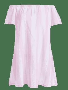 A Rosado Del Hombro L Mini Rayas Vestido Fuera 4wZnCz7q