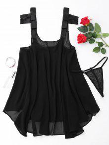 Billowy Chiffon Beach Top Cover Up - Black