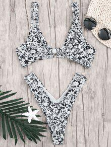 Printed Bralette Thong Bathing Suit - White And Black M