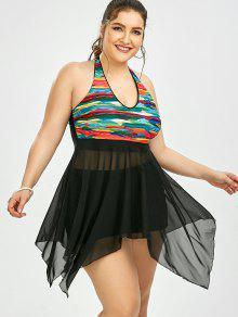 Plus Size Mesh Halter Skirted Tankini Set - Black 4xl