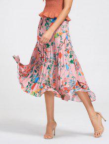 تنورة الأزهار ماكسي مطوي - الأزهار S