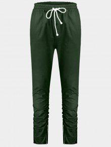 Slim Fit Drawstring Mens Twill Pants - Green L