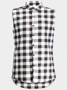 Checked Twill Mens Sleeveless Shirt - Gray L