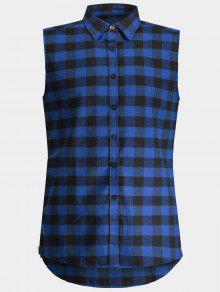 فحص حك حك رجل أكمام قميص - أزرق Xl