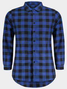 رجل عارضة قميص فحصها - أزرق L
