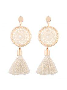 Crochet Floral Tassel Drop Earrings - White
