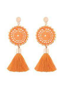 Crochet Floral Tassel Drop Earrings - Orange
