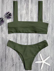 Bandeau Padded Bikini Top And Bottoms - Green S
