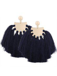 Statement Geometric Tassel Earrings - Navy Blue