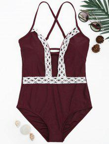Shaping Contast Lace Plunge One Piece Swimsuit - Burgundy L