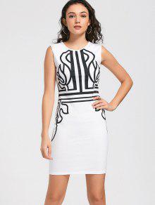فستان الحفلة مرسوم ضيق بلا أكمام - أبيض M