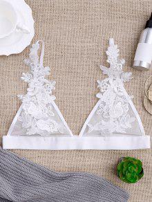 Sheer Mesh Applique Bralette - White M