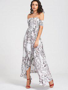 Smocked Off Shoulder Asymmetrical Dress - Floral M