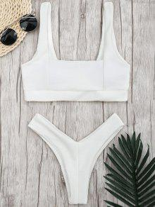 Ribbed Square Neck Thong Bikini - White S