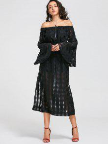 See Thru Off Shoulder Maxi Dress - Black 2xl