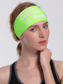 Letters Pattern Sport Cycling Headband - Neon Green