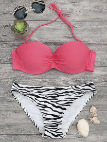 Zebra Print Underwire Push Bikini Set - PINK/ZEBRA S