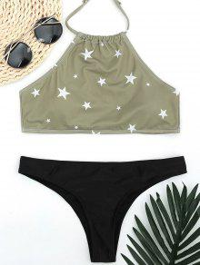 High Neck Pentagram Print Thong Bikini - Light Green L
