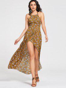 Maxi Vestido Escotado De Flores Con Cierre De Nudo En Espalda - Amarillo Xl