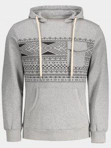 Chest Pocket Tribal Print Pullover Hoodie - Gray Xl