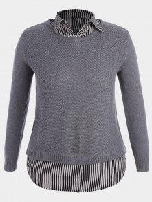 Size Sweater 3xl Plus Su Gris 233;teres Stripe twaRRf
