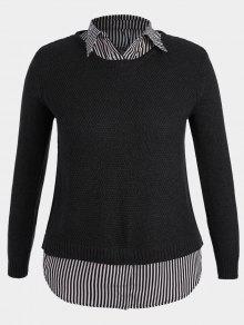 Pullover Stripe Plus Size Sweater - Black 3xl