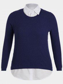 Plus Size Pullover Layered Look Sweater - Purplish Blue Xl