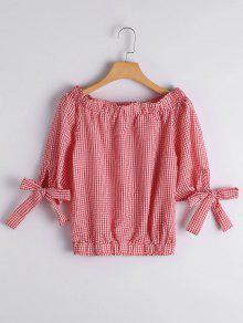 Off The Shoulder Checked Blouse - Checked L