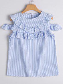 Cold Shoulder Ruffle Hem Striped Blouse - Blue Stripe M