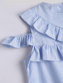 Hombro Azul El Blusa Raya A Fruncida Rayas M En vWwUA1q