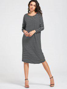 Stripes Long Sleeve Midi Casual Dress - Stripe S