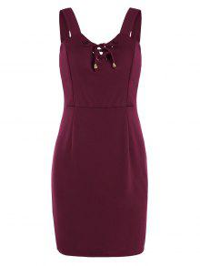 Lace Up Fitted Mini Dress - Deep Red M