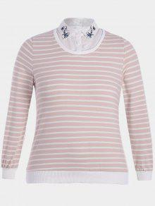 Embroidered Overlay Plus Size Striped Top - Pink And White 3xl