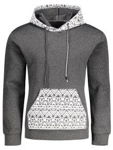 Kangaroo Pocket Tribal Print Pullover Hoodie - Gray Xl