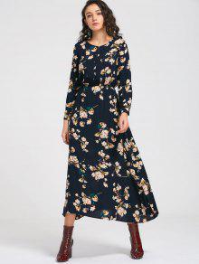 فستان طويلة الأكمام زر مصغر زهري ماكسي - Cadetblue رقم 2xl