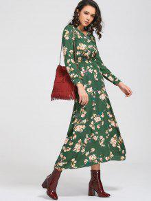 فستان طويلة الأكمام زر مصغر زهري ماكسي - أخضر M